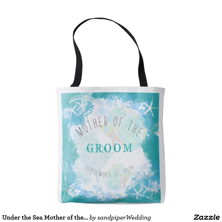 Under the Sea Mother of the Groom Bag Under the sea design, beach wedding bag for mother of the groom (or bride). Tropical turquoise and aqua blue graphic with starfish, tropical fish and an under water look. Text is customizable on the front, with a sea star and fish design on the back.