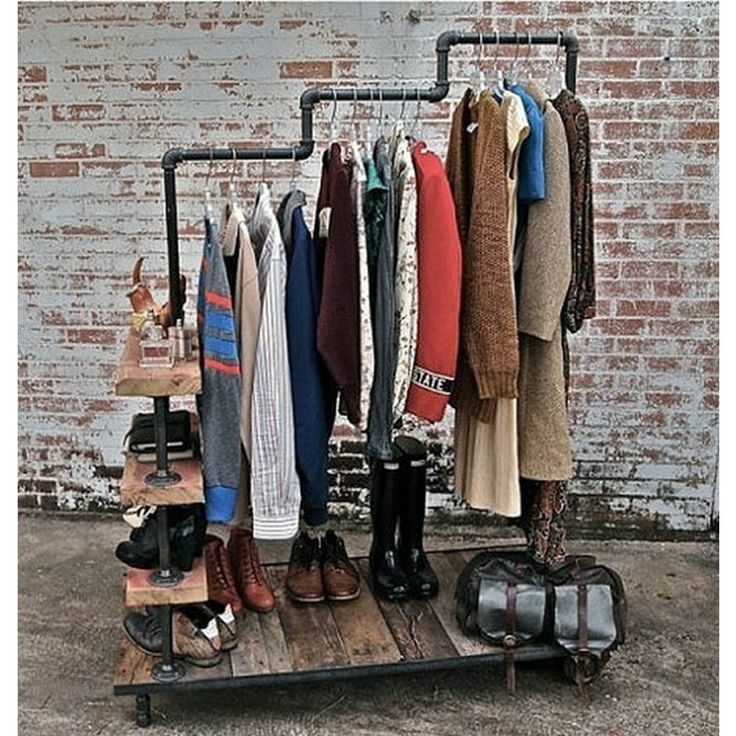 American Village Iron Solid Wooden Clothes Rack Rack Retro Old Garment Rack Clothing Store Showcase