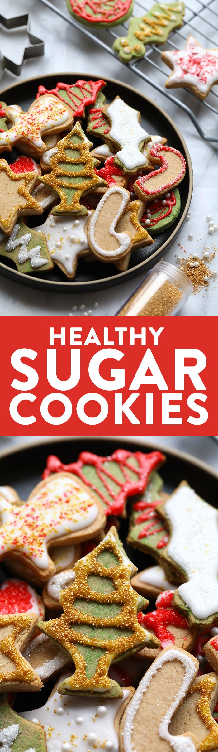 These Healthy Holiday Sugar Cookies are grain-free and refined-sugar free made with almond meal and honey. They are exactly what you are looking for when you are craving your favorite holiday cookies, but lightened up! Make them for your next holiday part http://eatdojo.com/easy-healthy-dessert-recipes-family-birthday/