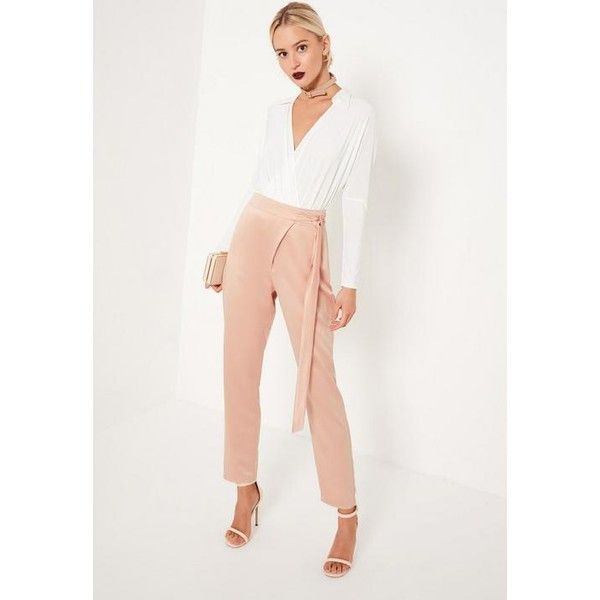 Missguided Nude Satin Tie Waist Wrap Front Cigarette Trousers ($23) ❤ liked on Polyvore featuring pants, pink, slim trousers, pink satin pants, white cigarette pants, pink pants and cigarette trousers