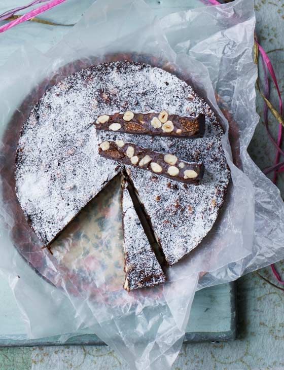 Chocolate panforte is a great dish to bake at Easter. It is a take on the classic Italian chewy fruit slice. This makes a lovely gift when you wrap it in baking paper with a colourful ribbon.