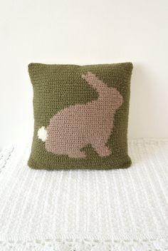 Kissen häkeln Intarsien Muster Hase Kaninchen Kissen Graph Muster Diagramm Foto…