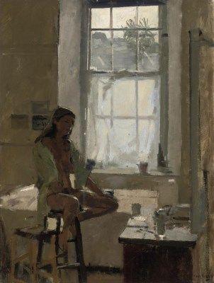 Ken Howard, R.A. (b. 1932)  Saskia in the Silk Shirt