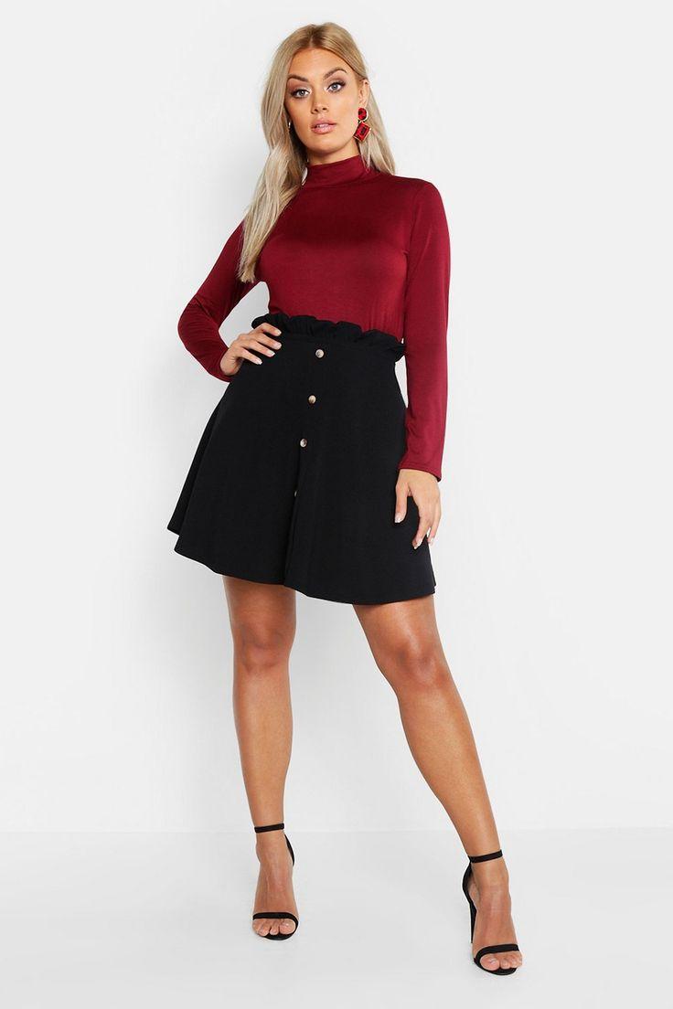 Plus Paper Bag Button Detail Skater Skirt | Boohoo 2