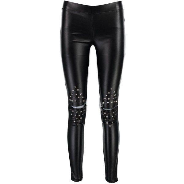 Boohoo Nicole Wet Look Studded Premium Leggings ($35) ❤ liked on Polyvore featuring pants, leggings, wetlook leggings, sports leggings, studded leggings, wide leg palazzo pants and elastic waist pants