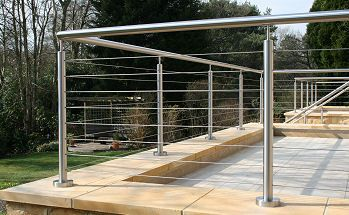 Stainless steel handrail, railing and balustrade systems, tensioned wire and glass infill