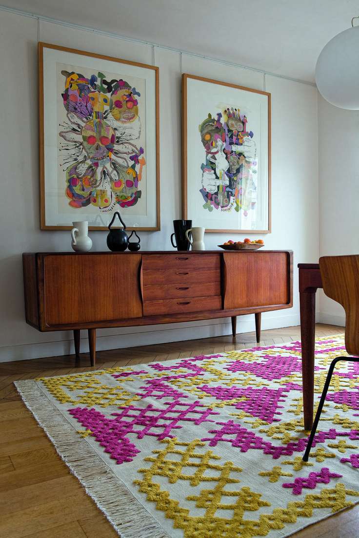 Decor, Colors, Interiors, Art, Living Room, Mid Century, Crosses Stitches, Rugs, Design