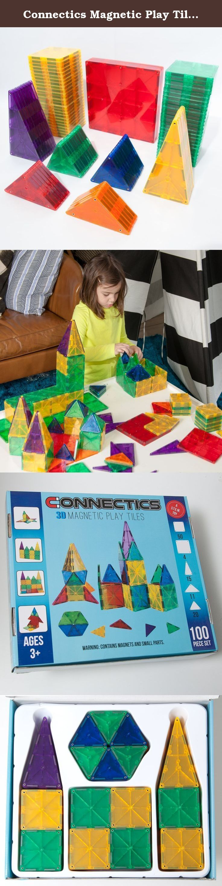 Connectics Magnetic Play Tiles 3-D Tiles 100 Piece Set Educational, Inspirational, Recreational. Connectics Magnetic Play Tiles engage children in creative play and help them learn and practice a variety of skills and concepts. This 100 piece set includes 50 small squares, 4 large squares, 15 large isosceles triangles, 11 small isosceles triangles, and 20 equilateral triangles. Connectics Magnetic Play Tiles help children develop patterning, shape recognition, building and motor skills…