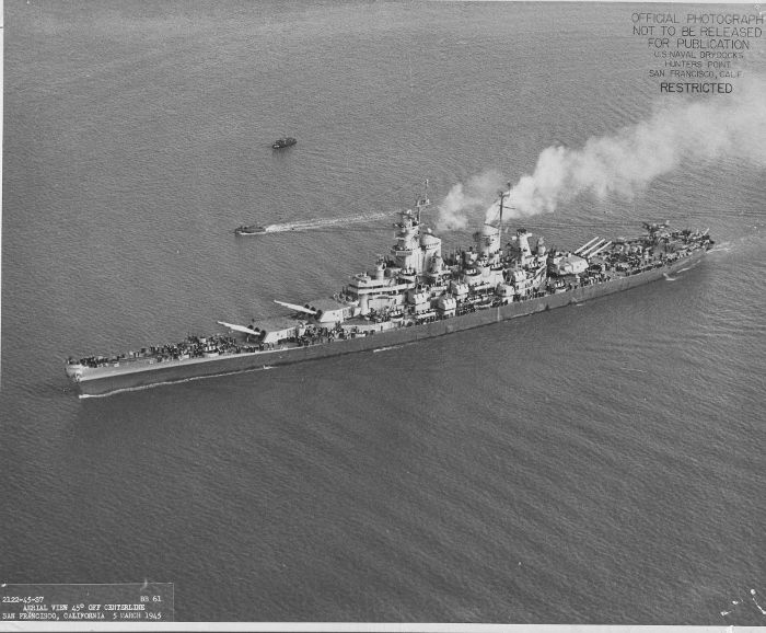 Battleship USS Iowa, 5 March 1945. BB61.