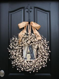 Wreaths - Champagne - Berry Wreath - Vintage Inspired Decor - Front Door - Sugar Cream Pie - Personalized Decor - Initial Plates