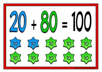 With a title poster, here is a set of 11 A4 printable posters showing the number bonds that make 100 (multiples of 10). Each poster is colorful and visual and will help students learn their number bonds to 100 in no time! Visit our TpT store for more information and for other classroom display resources by clicking on the provided links.