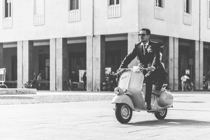 October the 3th 2015 - Reaching the square in Lugo (Ravenna) Italy, on my vespa faro basso dated 1955 on my wedding's day.