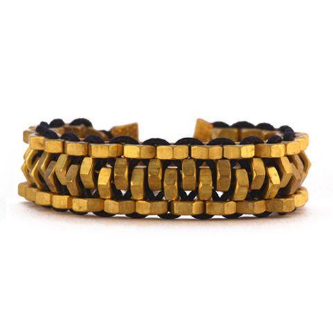 statement bracelet made from brass, prolypropylene & cotton string by israeli designer mutrah