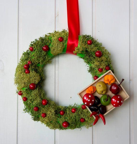 Ghirlanda natalizia con muschio vero, corona natalizia fuori porta, decoro natalizio italiano con vero muschio perenne,decorazione di Natale