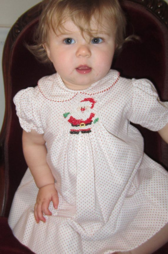 Baby Infant and Girls Christmas Dress with Smocked Santa on Etsy, $55.00
