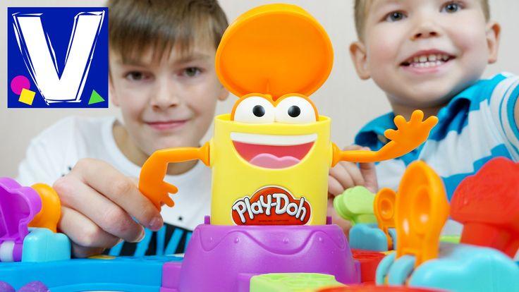 """Плей До пластилин. Игровой набор Прямо в цель. ДоДошка. Play Doh Launch game for kids. Влад, Кирилл и мама играют в веселую игру от Play Doh """"Прямо в цель"""". ..."""