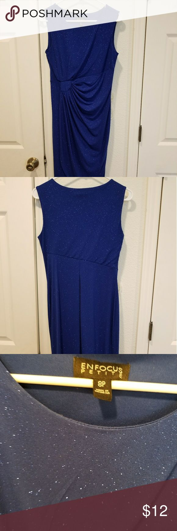 Beautiful  blue, sparkly cocktail dress This sleeveless dress compliments your figure beautifully. Gathers on the side gives a slimming effect you'll love. Worn one time while on a cruise. Perfect condition. Enfocus Petite Dresses Midi