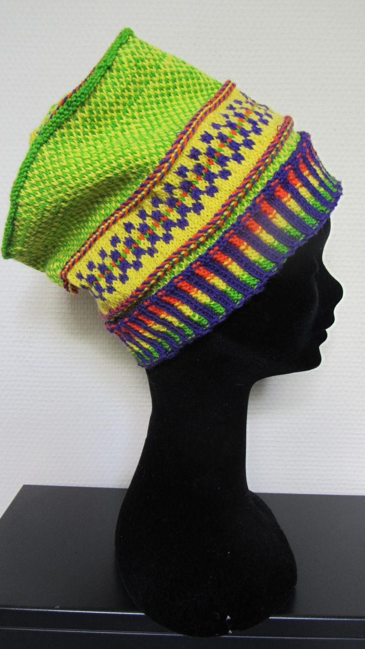 Hoed gemutst,knitted Fair Isle hat by Carla van Doorn Designs