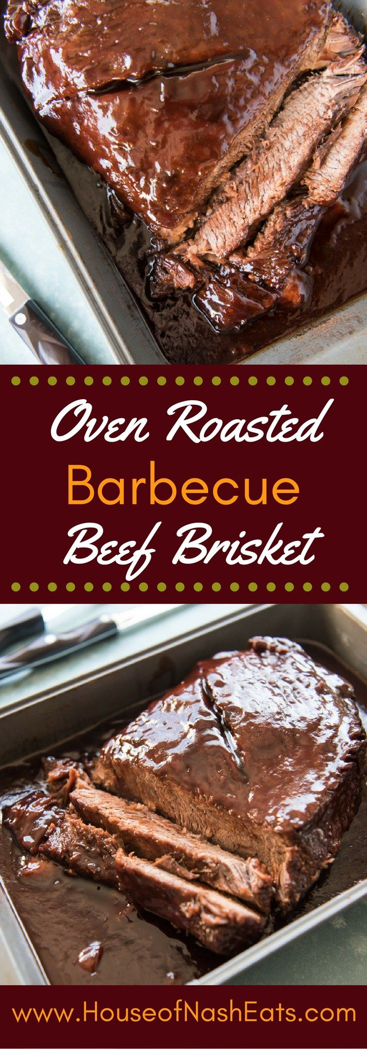 Slow Roasted Oven BBQ Beef Brisket is so tender and juicy, with a sweet & smokey hickory barbecue sauce, no one will care the meat wasn't smoked for hours!