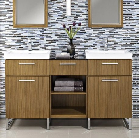 Contemporary Art Websites Metropolitan Modular Vanity and Sink Set Teak