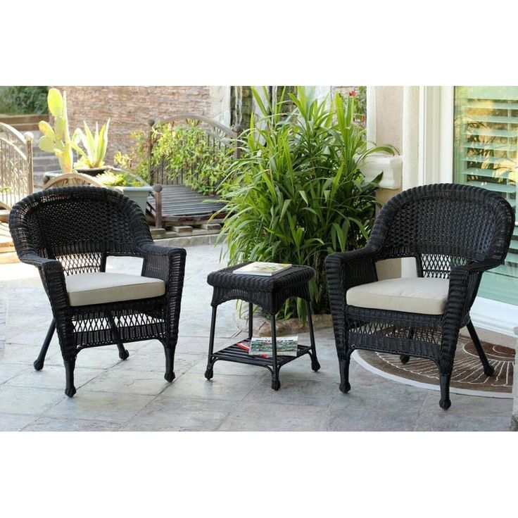 3 Piece Black Resin Wicker Patio Chairs And End Table Furniture Set   Tan  Cushions Part 81