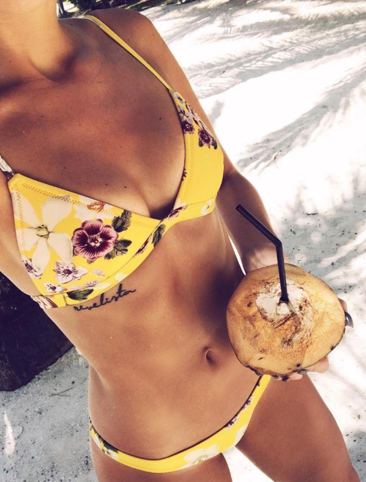 Yellow Floral Triangle Bikini