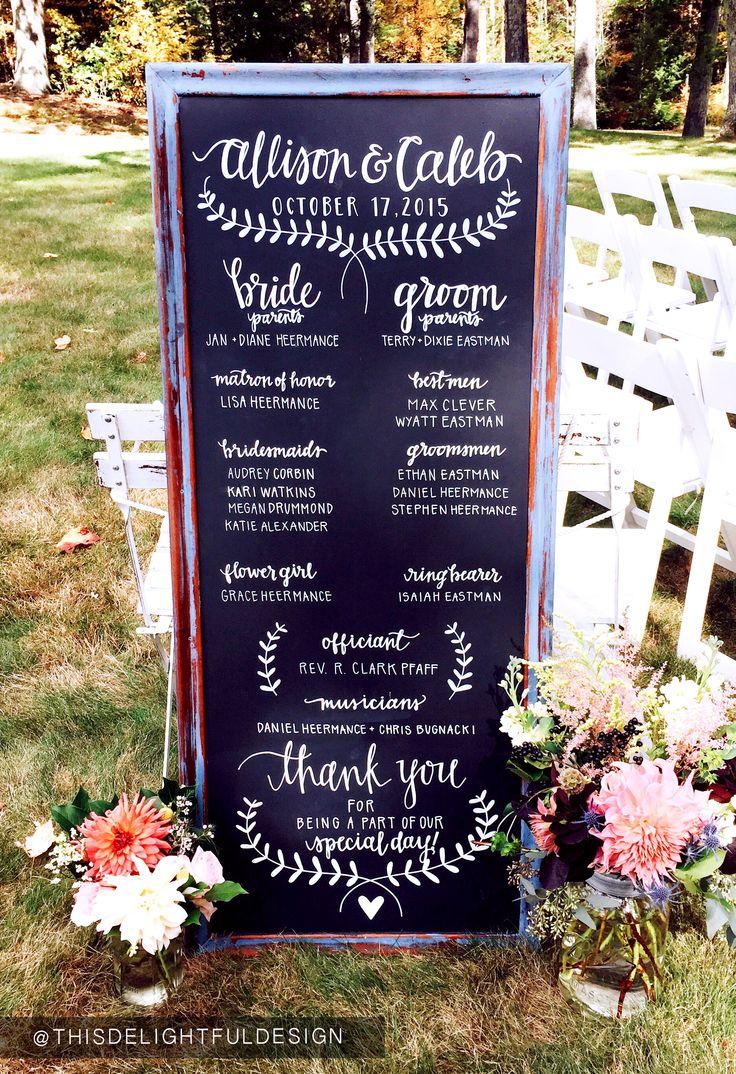 Wedding Program   Chalkboard   Modern Calligraphy   Wedding Signage      This Delightful Design by Katie Clark  http://www.katieclarkk.com/