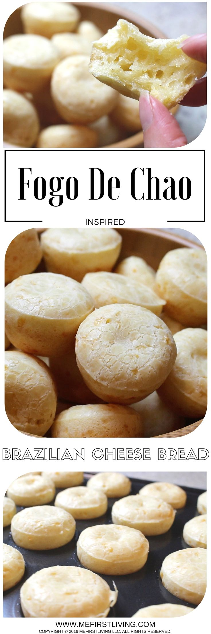 These Fogo De Chao inspired Pao De Queijo are cheesy, savory, and deliciously chewy 2-bite traditional Brazilian cheese puff bread that are unlike any bread out there! They're made with Tapioca Flour (starch) instead of traditional wheat flour so they are a great Gluten-Free option for those with Celiac's Disease! #paodequeijo #brazilianbread