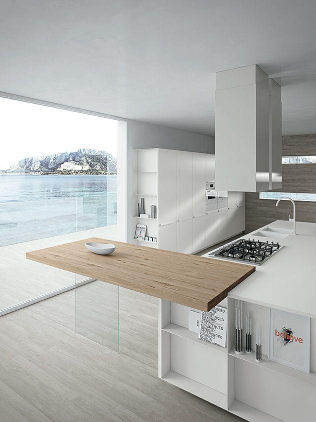 Sand White laquered doors. Sand White varnished open units. Tavolato Oak and Corian® Glacier White worktops. #ArritalCucine #Kculture #modern #kitchen #Ak05