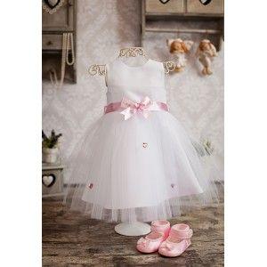Satynowa sukienka do chrztu Nala zapinana na springi. #sukienka #chrzest #sukienkadochrztu
