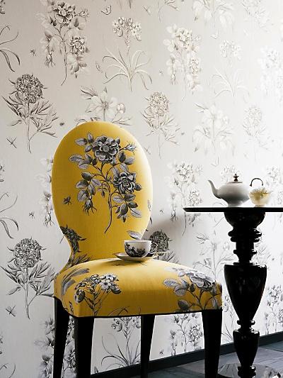 Buy Sanderson Wallpaper, Etchings and Roses DPFWER106, Black online at JohnLewis.com - John Lewis