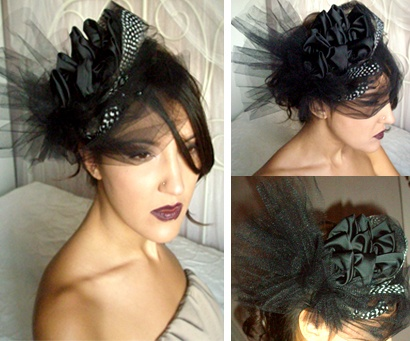 handmake black kouaf with tulle and black & white feathers