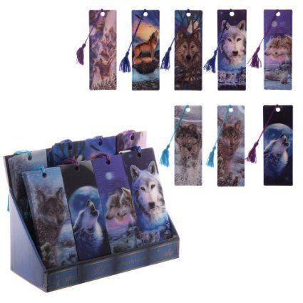SET OF 4 WOLF PICTURE 3D BOOKMARKS