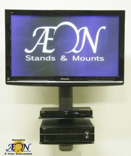 TV Mount with shelves by Aeon Stands and Mounts. $219.99. This all in one component shelf and tv mount furniture system by AEON will accomodate your TV and A/V components and can be installed quickly and effectively for a professional sleek look. Simply affix the column to one stud or masonry wall via the provided hardware and you will be enjoying your favorite shows and movies quicker then you thought possible.  The innovative TV height adjustment solves problems o...