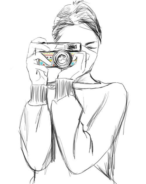 girl with camera sketch