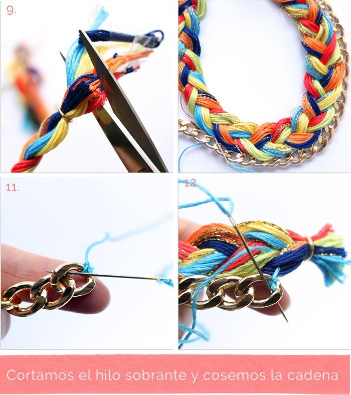 Biennnn, amigas aplaudir, ya tenéis aquí el  tutorial del collar  que aparece en mi presentación . Este collar trenzado y combinado con ...