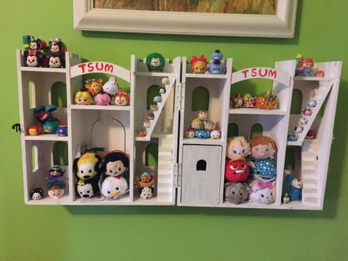 "buffdolls: ""Made with the playcastle wood project from Michaels, I turned it into a custom Tsum Tsum display/ storage shelf! """