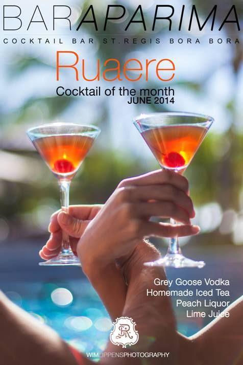 Salute! Il cocktail del mese del St Regis Bora Bora, proposto dal Bar Aparima: vodka, tè freddo fatto in casa, liquore alla pesca e succo di lime #cheers #SRBB #giugno #LOVESRBB