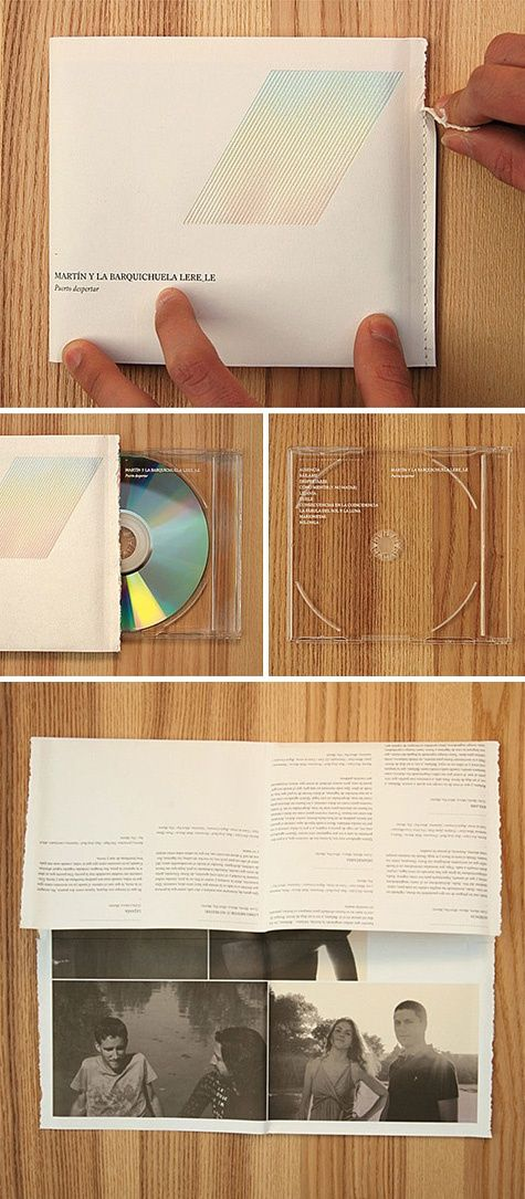 Tearable packaging and clear CD casing.
