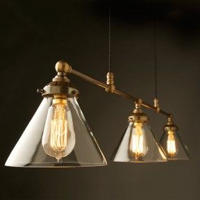 Billiard-light-brass-cone-shade-clear with filament bulbs - edison light globes