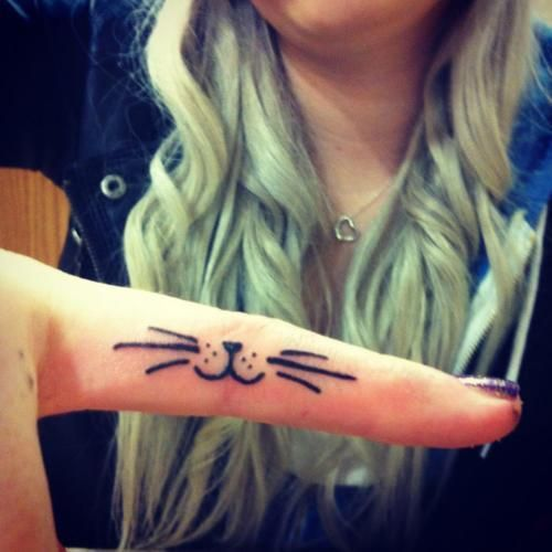 cute for girls: Cats, Tattoo Ideas, Kitty Tattoo, Kitty Cat, Cat Tattoos, Finger Tattoos, Body Art, Tattoo'S, Tattoos Piercing