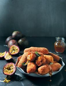 Granadilla and orange sweet potato croquettes. An incredibly creative vegetarian dish!