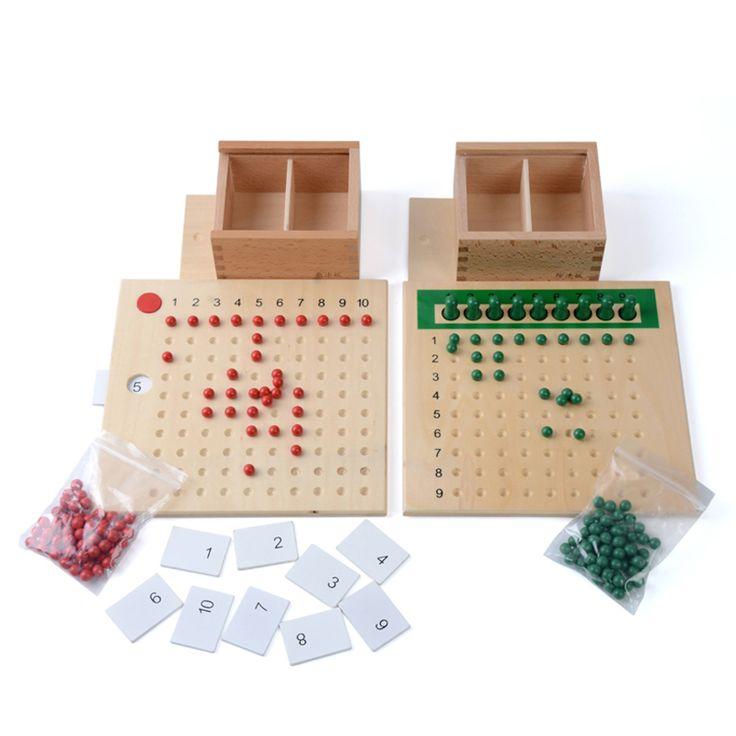 Baby Speelgoed Montessori Vermenigvuldiging Kraal Boord en Divisie Bead Board…