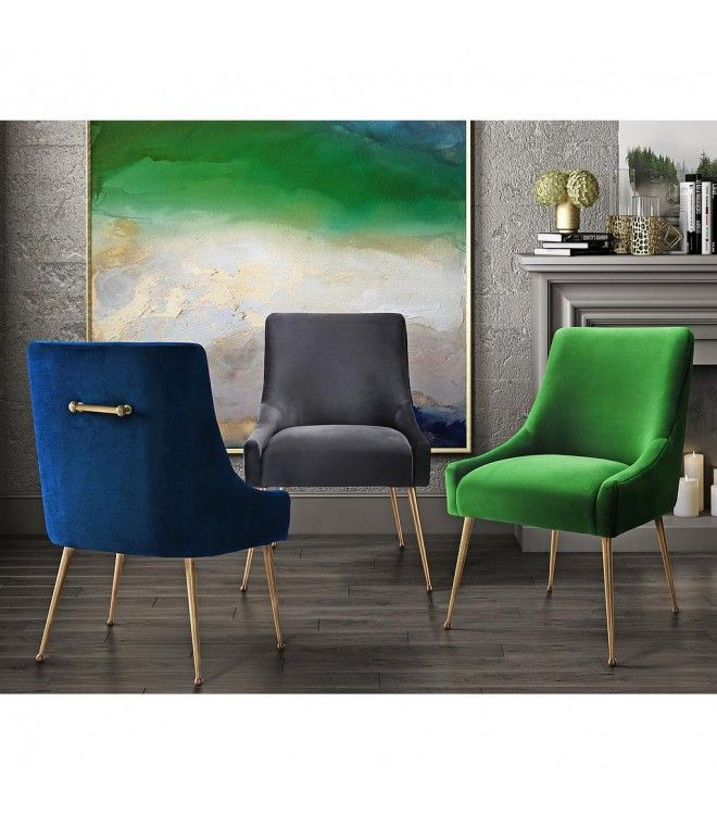 Velvet Accent Chair  Blue Green or Grey            Beautiful!