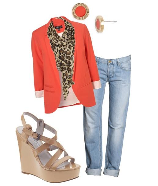 coral blazer, nude wedges, leopard scarf
