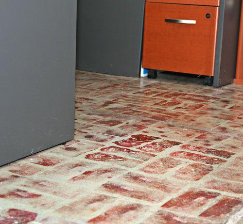 Faux Brick Floor Painted With A Sponge Flooring Pinterest