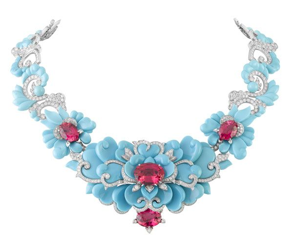 "Van Cleef & Arpels"" the kingfisher necklace"" - made with turquoise, diamonds, and pinkish-red spinels."