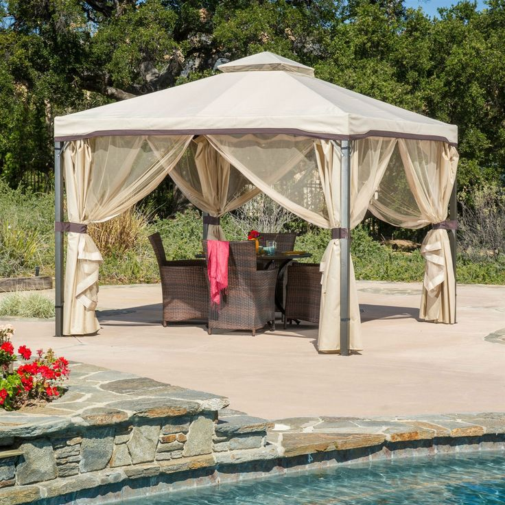 10 feet square gazebo. With a steel frame and polyester canopy and screen.Includes zippers to close the canopy. Hardwearing and weather resistant. See more great deals on http://budget-furniture.net