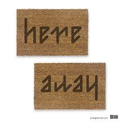 ambigram here away doormat (ambigramme) Tags: 2 two reflection art up vertical tattoo writing word logo for mirror design back funny play graphic upsidedown drawing humor optical right front symmetry tattoos generator illusion font rotation inversion write calligraphy reverse escher left maker inverse wordplay palindrome anagram ambigram degrees palindromes ambigrams ambigrama ambigramm ambigramme ambigramma ambigrammi ambigramo