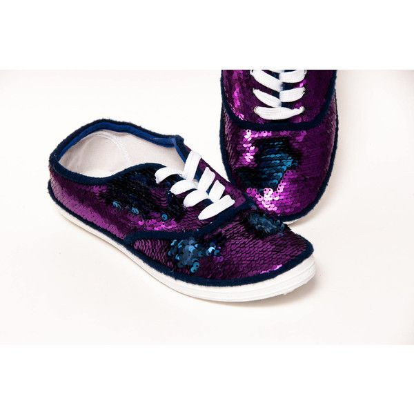 Mermaid Sequin Cvo Reversible Navy Blue to Purple Canvas Sneakers... ($40) ❤ liked on Polyvore featuring shoes, sneakers, grey, sneakers & athletic shoes, tie sneakers, women's shoes, sequin tennis shoes, gray sneakers, canvas tennis shoes and purple shoes